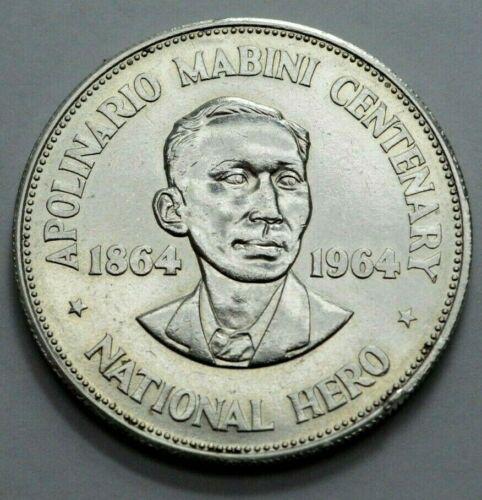 1964 One Peso Philippines National Hero Apolinario Mabini Centenary Silver Coin!