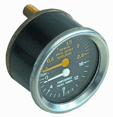 Manometer Double Scale 60mm For Espresso Machines Wega Part W10790 Or W10791