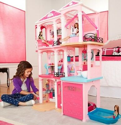 Mattel Barbie Dream House Doll 3 Story Furniture Girls Play 70+ Accessories Gift