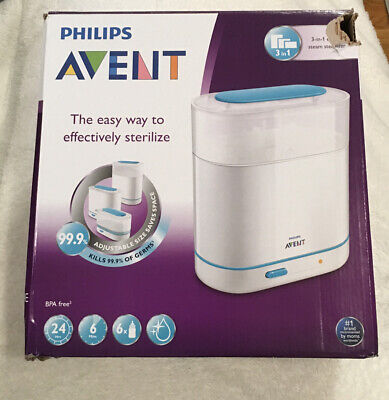 Philips AVENT 3-in-1 Electric Steam Sterilizer Holds 6 Bottles BRAND NEW
