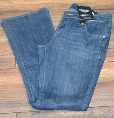 Simply Vera Vera Wang Jeans Bootcut  Denim Jean With Gold Accent Stitch RAVEN Gold Stitched Bootcut Jeans