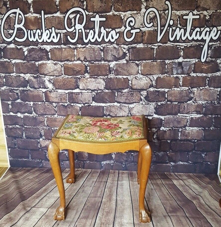 Antique Vintage Victorian Edwardian Tapestry Piano Stool Seat Claw Ball Feet Oak