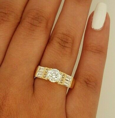 14k Yellow Gold Round Baguette Solitaire 1.5 ct Diamond Engagement Wedding Ring