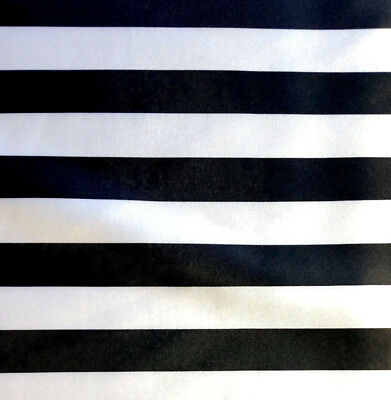 Black and White Striped Satin Fabric 1 Inch Stripe 60