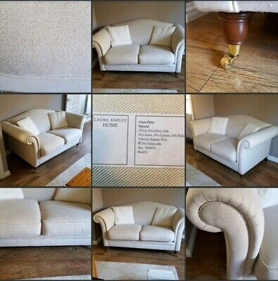 *Lovely Condition!* Linen Mix ♡LAURA ASHLEY♡ Cream~Gloucestershire~2 Seater Sofa