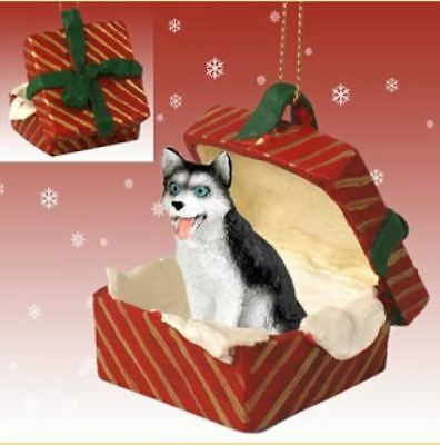 SIBERIAN HUSKY black white blue eyes DOG CHRISTMAS GIFT BOX ORNAMENT Present