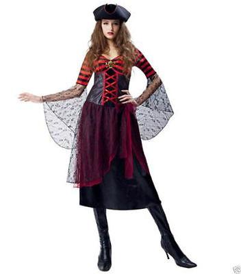 NEW Lace Striped Pirate Lady Adult Womens SZ L12-14 Costume Halloween Dress