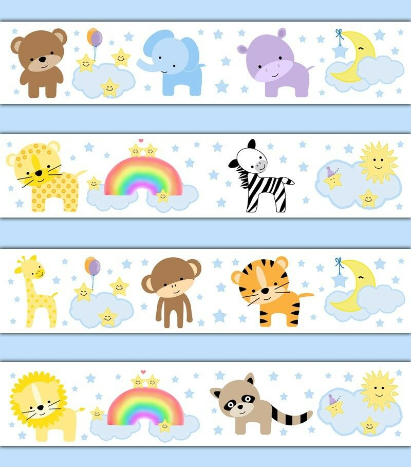 Jungle zoo animals wallpaper border wall decals baby for Baby mural wallpaper