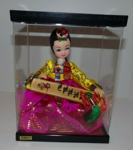 Korean Native Doll in Traditional Dress and Display Case Made iin Korea