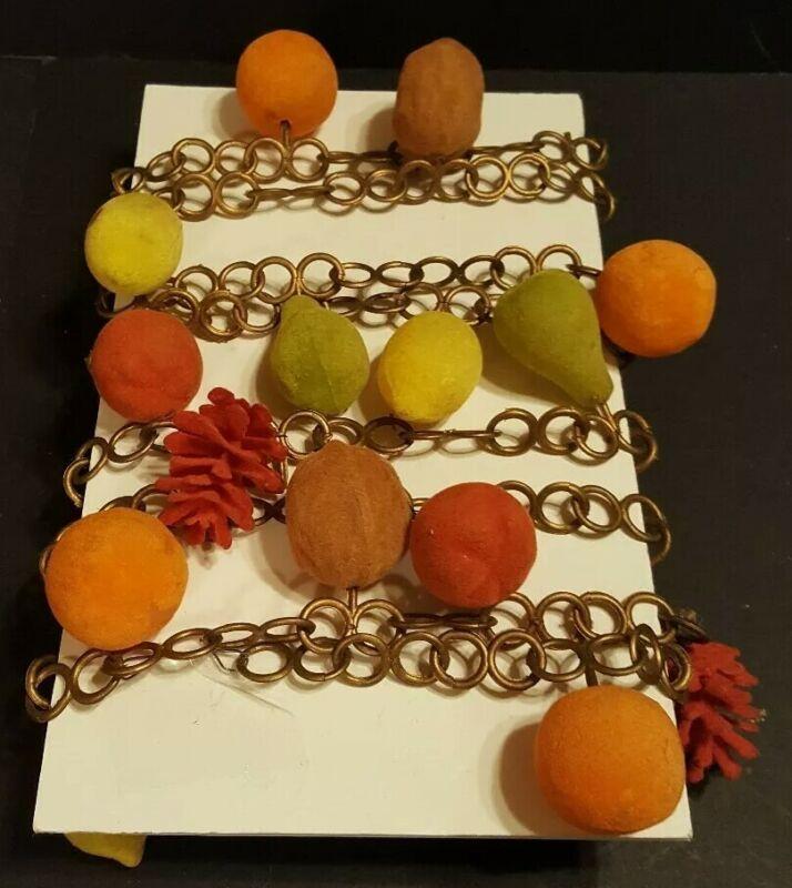 Vtg Mid Century Retro Christmas Flocked Fruit Nuts Pinecone Garland Gold Chain
