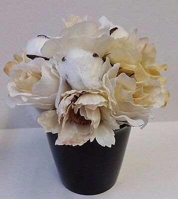 Rustic Rose and Cotton Stem Bouquet  Artificial Flowers for Flower Arranging
