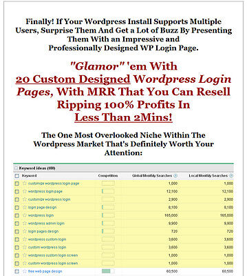 Wordpress Plugin - 20 Custom Designed Login Pages W Sales Page Master Resell