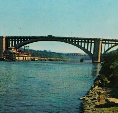 Vintage Cappelen Memorial Bridge Mississippi River Minneapolis MN Boat Postcard