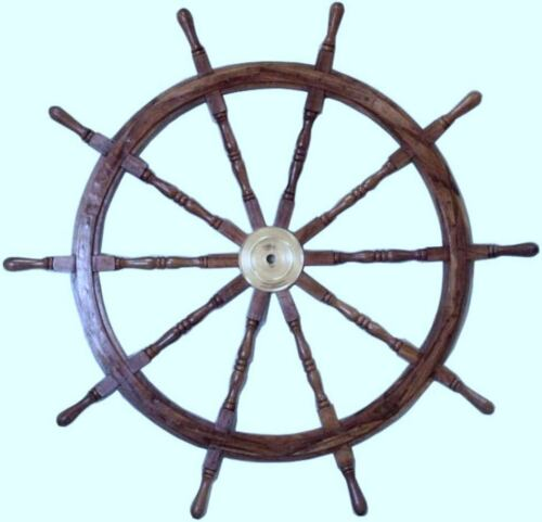 """36"""" Nautical Solid Wood Brass Ship Wheel Home Maritime Decor Antique Handcrafted"""