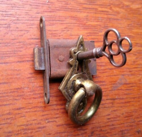 Antique Mortise Door Lock & Key, Brass Plate for Wardrobe, Cabinet, Pantry 1885