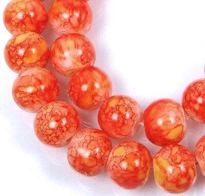 """8mm Baking Varnish Glass Spider Web Round Beads - Orange w/ Yellow 15.5"""""""