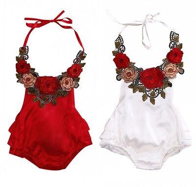 Boutique Newborn Kids Baby Girls Flower Halter Romper Jumpsuit Sunsuit Clothes