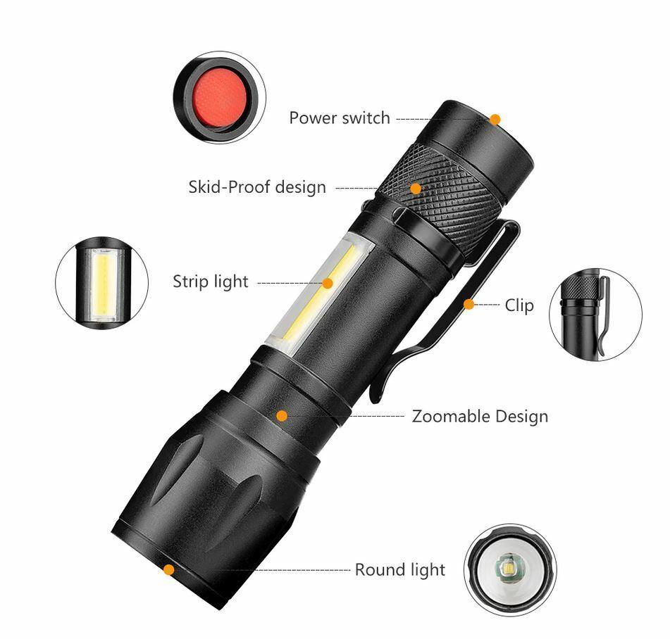LED Medium Size Torch Flashlight with Zoom, Side Light & Strobe & FREE Battery