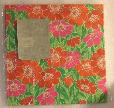 VINTAGE 1980s HALLMARK AMBASSADOR FLAT GIFT WRAP PAPER NOS POPPY FLOWER GREEN