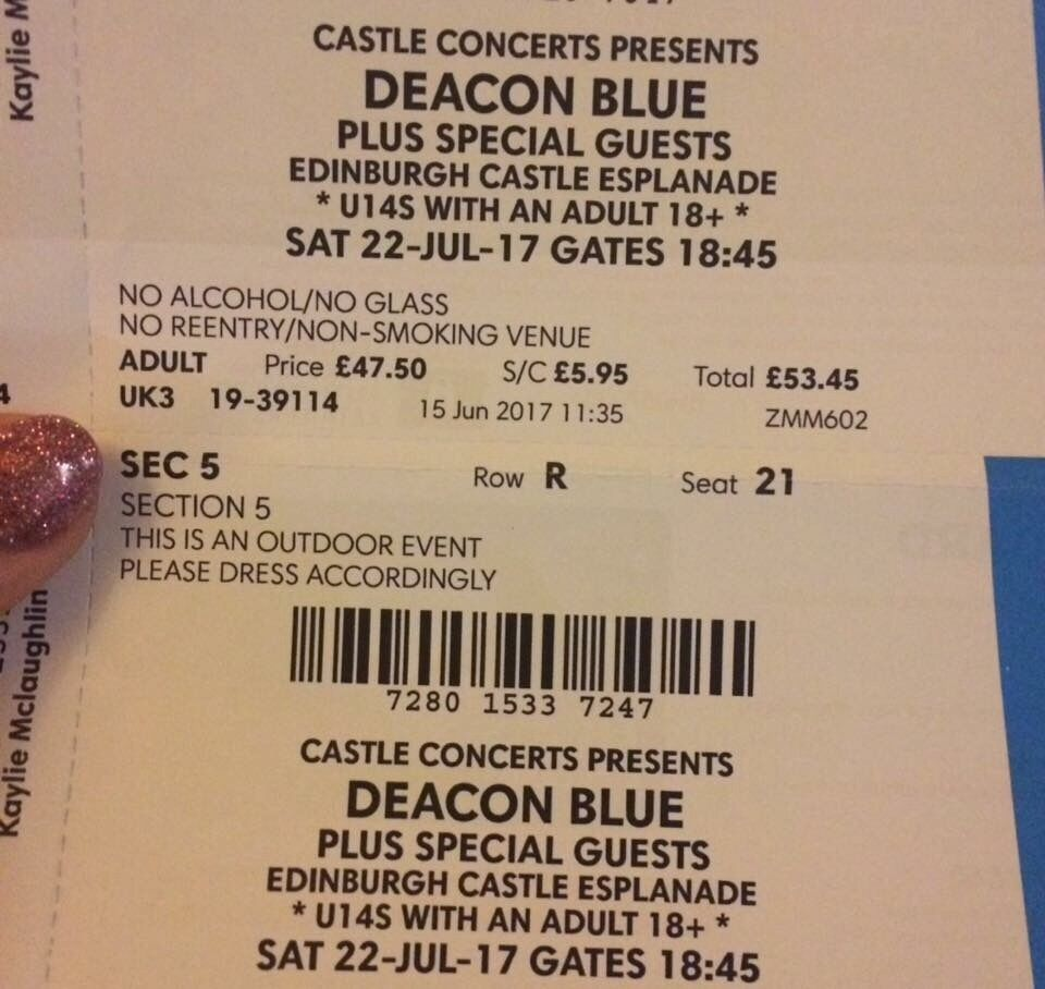 2 seated tickets deacon blue edinburgh castle | in inverkeithing