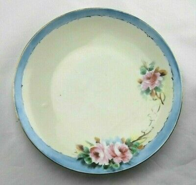 Vintage Germany Hand Painted Porcelain Plate Cream w/Blue Edge & Pink Roses 7