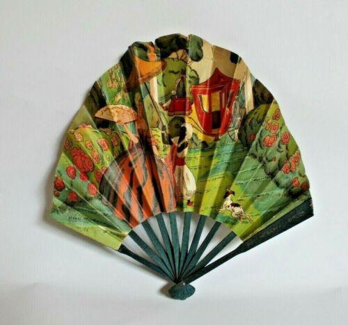 Antique Vintage Paper Advertising Fan ~ Henri Montassier ~ French Bazaar Panama