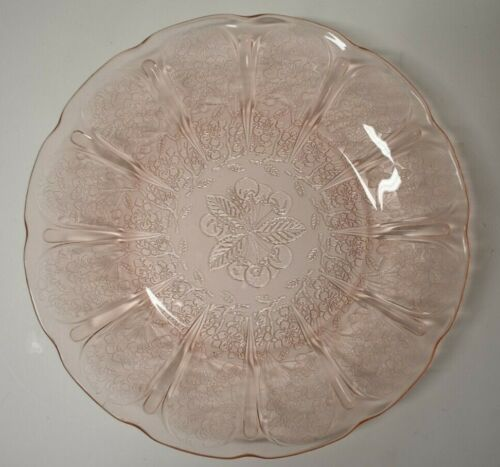 "Vintage Jeanette Pink Cherry Blossom Depression Glass 9"" Dinner Plate"