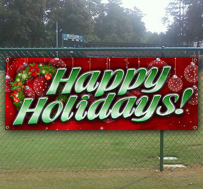 HAPPY HOLIDAYS Advertising Vinyl Banner Flag Sign Many Sizes Available ()