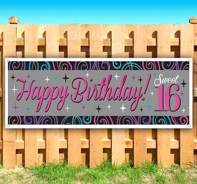 HAPPY BIRTHDAY SWEET 16 Advertising Vinyl Banner Flag Sign Many Sizes USA - Happy Sweet 16 Birthday Banner