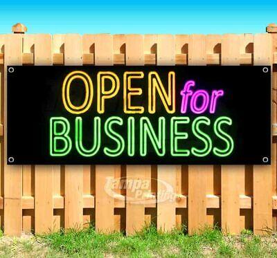 Open For Business Neon Advertising Vinyl Banner Flag Sign Many Sizes Usa