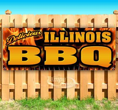 Illinois Vinyl (Illinois BBQ Advertising Vinyl Banner Flag Sign Many Sizes Available USA)