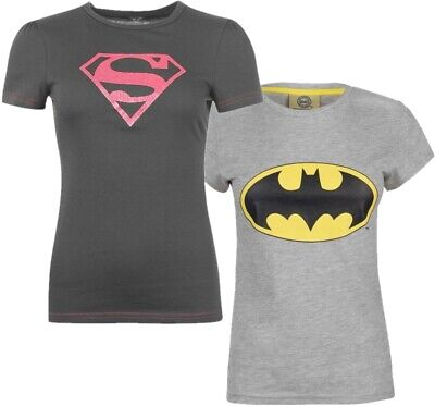 ✅ DC COMICS Damen Batman Superman T-Shirt Top Oberteil Supergirl Badgirl Kino