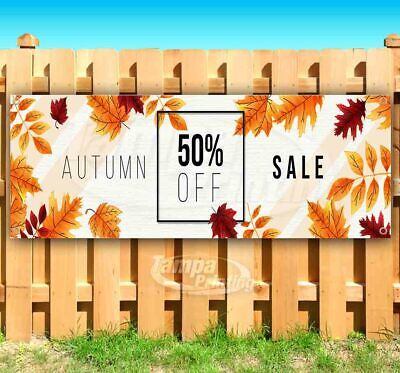 Autumn Sale 50 Off Advertising Vinyl Banner Flag Sign Many Sizes Fall Festival