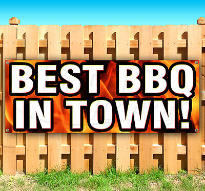 BEST BBQ IN TOWN Advertising Vinyl Banner Sign LARGE SIZES! BUSINESS SIGNS