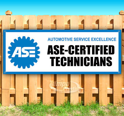 Ase Certified Technicians Advertising Vinyl Banner Flag Sign Many Sizes Mechanic