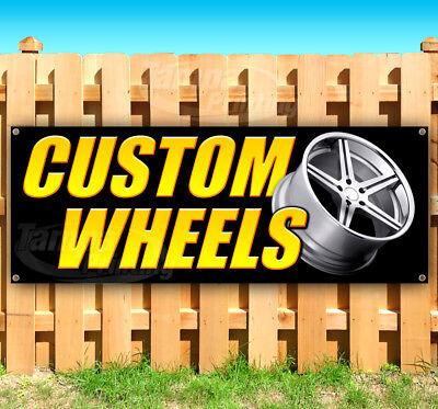 Custom Wheels Advertising Vinyl Banner Flag Sign Many Sizes Usa