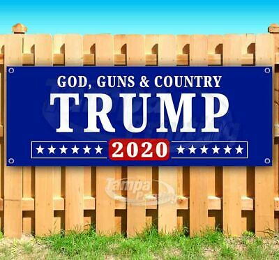 Country Flag Banners (TRUMP GOD GUNS & COUNTRY Advertising Vinyl Banner Flag Sign Many Sizes MAGA)
