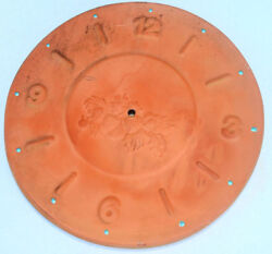 Terracotta Clay Clock Sundial Face BIG Large Harvest Simple Elegant Time Fall GL