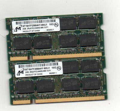4GB (2X 2GB) Micron DDR2-800 PC2-6400 Laptop Notebook Memory PC Ram SODIMM
