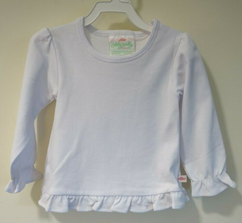 Brand New In Bag Lolly Wolly Doodle White Ruffle Hem Top Size 8-9