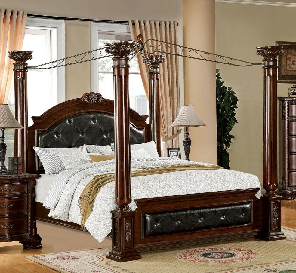 Photo NEW MANDALAY ELEGANT LEATHERETTE BROWN CHERRY FINISH WOOD QUEEN KING CANOPY BED