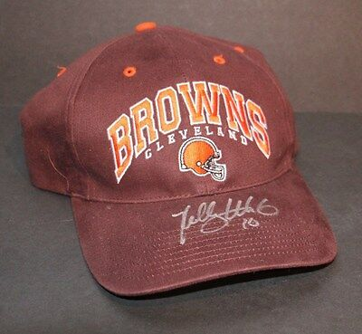 NFL FOOTBALL CLVELAND BROWNS KELLY HOLCOMB SIGNED AUTOGRAPHED STRAPBACK HAT CAP