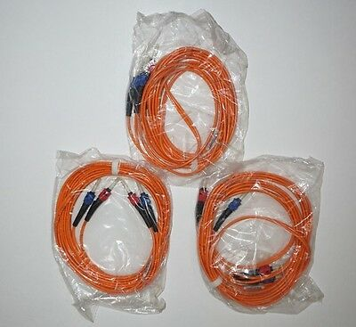 LOT OF THREE - 10FT ST to ST Duplex 62.5/125 Multimode Fiber Optic Patch Cable