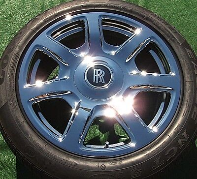 Set 4 NEW Factory OEM Rolls-Royce Phantom DROPHEAD FORGED Chrome 21 WHEELS TIRES