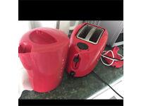 Kitchen Red kettle toaster n jars