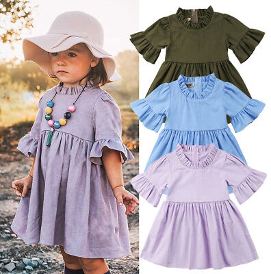 Children Clothing Boutiques (USA Boutique Toddler Baby Kids Girl Ruffle Sleeve Party Dress Sundress)
