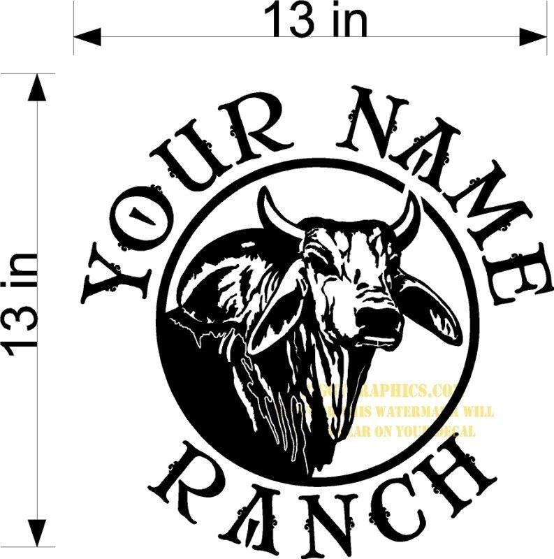 CUSTOM VINYL DECAL YOUR NAME RANCH BULL BRAHMAN BRAHMA HEAD NEW
