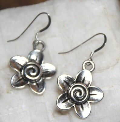 - Flower Earrings Spring Petals Spiral 925 sterling silver hooks pewter charms
