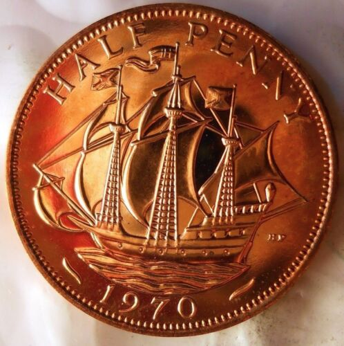 1970 GREAT BRITAIN 1/2 PENNY - Great PROOF Coin - FREE SHIP - Britain Bin PR