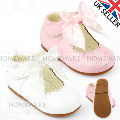 BABY GIRLS SPANISH STYLE PATENT BOW SHOES MARY JANE PINK WHITE IVORY UK3 TO UK10 Baby Pink Patent Schuhe